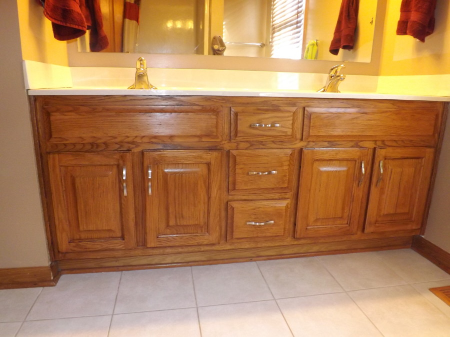 My Frugal Bathroom Cabinet Remodel | Club Thrifty on minwax red oak, minwax provincial oak, minwax colors on oak, minwax honey oak, minwax polyshades on oak, minwax weathered oak, minwax stain pickled oak 260, minwax jacobean on white oak hardwoods, sherwin-williams mission oak,