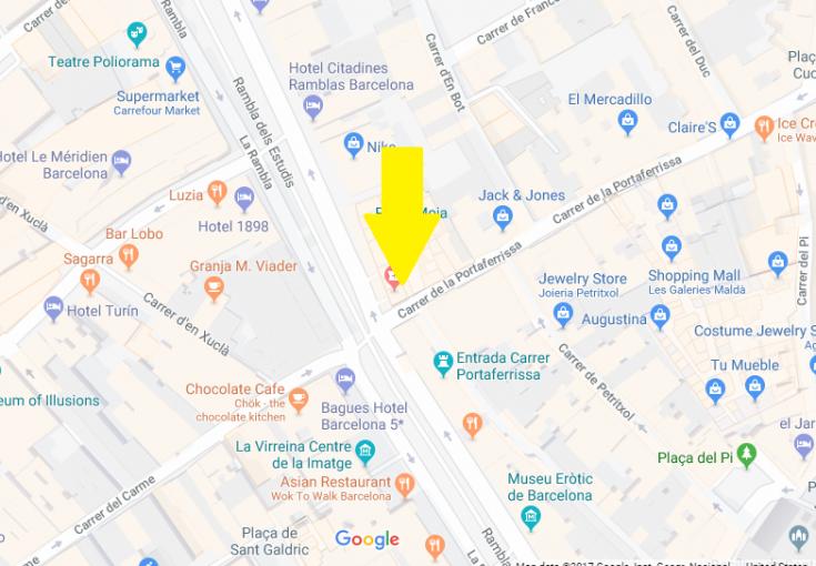 Barcelona Pass Redemption Center Map