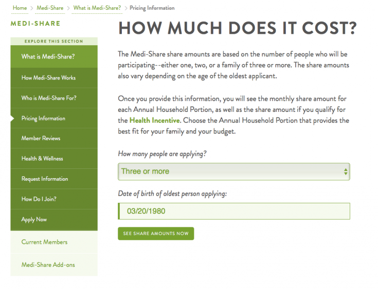Medi-Share cost calculator