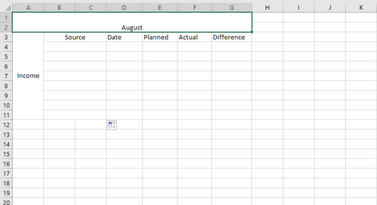 how to make a budget in excel - screenshot 1