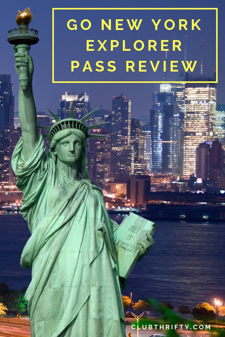 Go New York Explorer Pass Review Pin - picture of Statue of Liberty at night