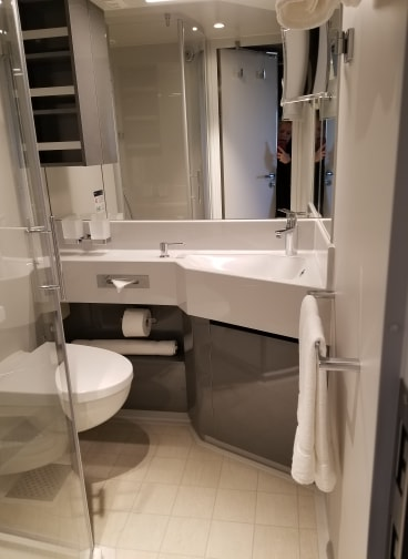 photo of cruise cabin bathroom on MSC Bellissima