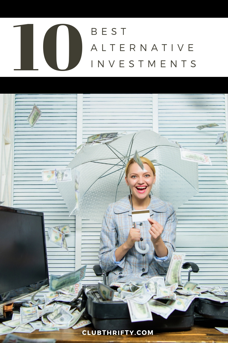 Best Alternative Investments - picture of woman with umbrella in money rain