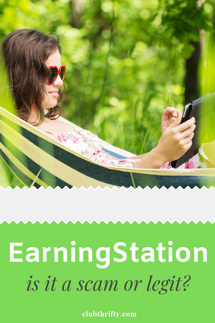 EarningStation Review Pin - picture of woman in hammock with tablet
