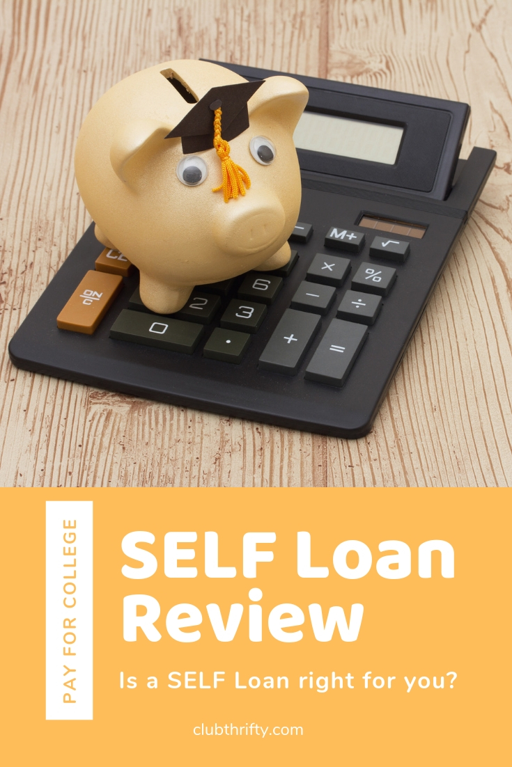 SELF Loan Review - picture of piggy bank with cap sitting on calculator