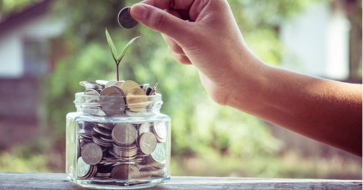 Mint vs Quicken - picture of someone putting coin in jar full of coins with plant growing out of it