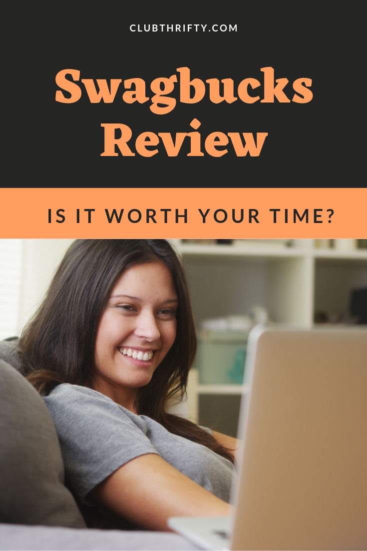 Swagbucks Review - pin with woman smiling at her laptop