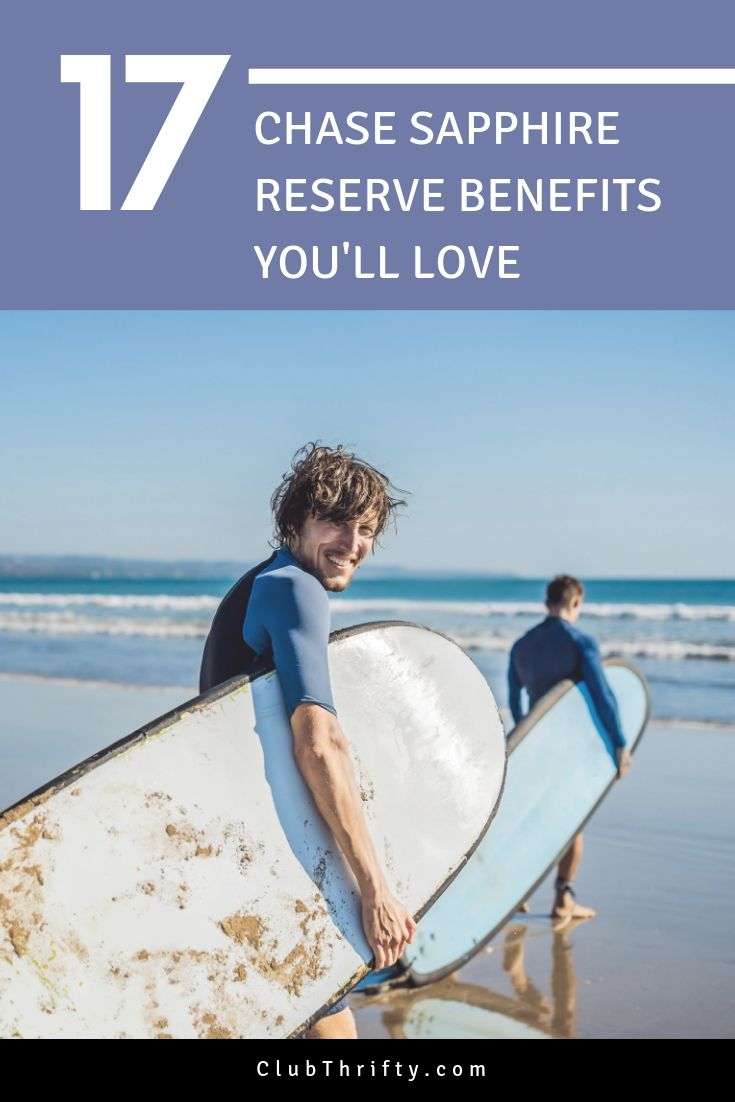 Chase Sapphire Reserve Benefits Pin - picture of man with surfboard