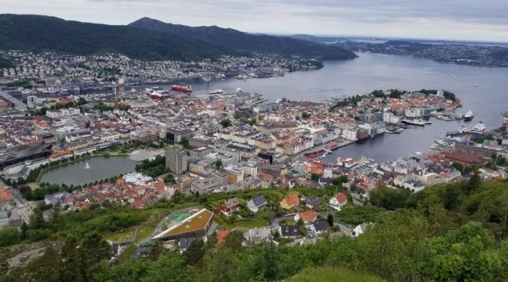 View of Bergen, Norway from Mount Floyen