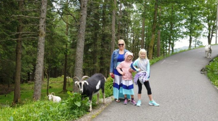 Photo of family with mountain goat