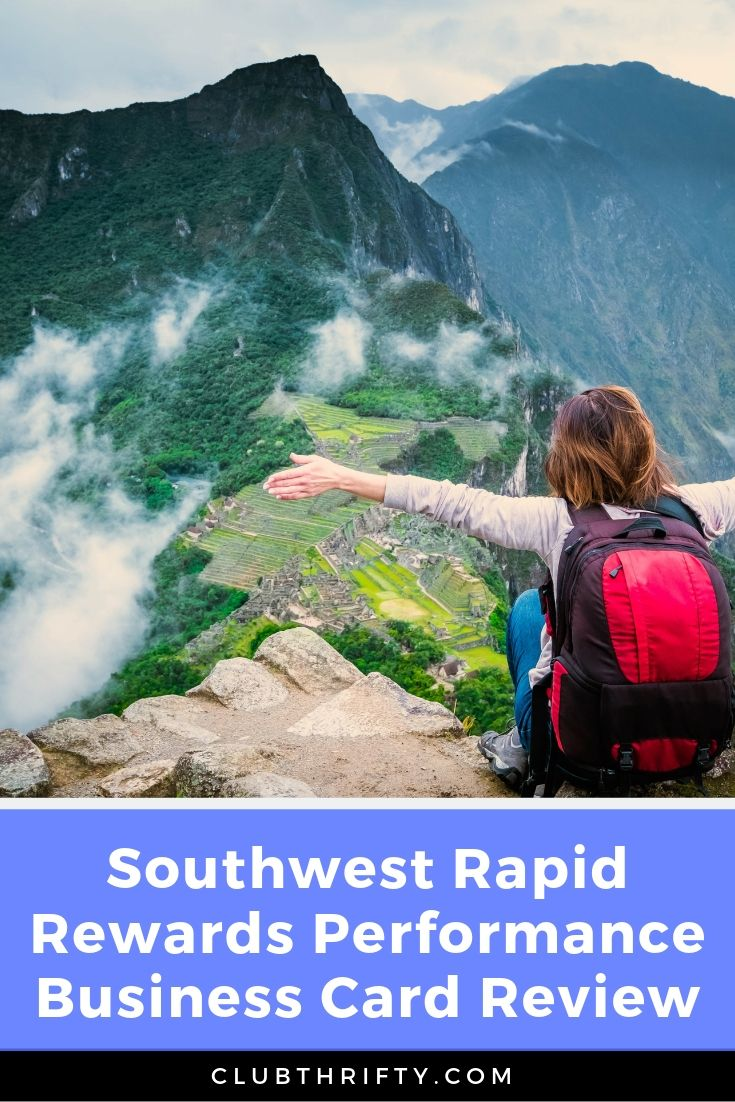 Southwest Rapid Rewards Performance Business Card Review Pin - picture of woman celebrating at top of mountain