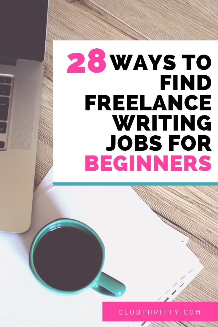 Ways to find freelance writing jobs for beginners pin - picture of laptop and coffee on table