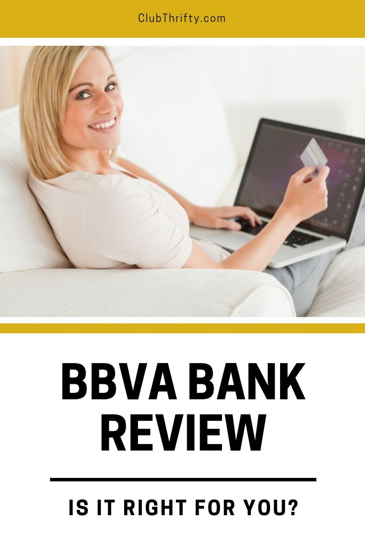 BBVA Bank Review Pin - picture of woman with debit card at her laptop