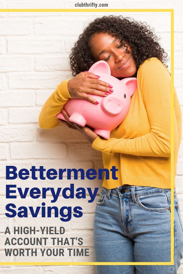 Betterment Everyday Savings Review Pin - picture of woman hugging piggy bank