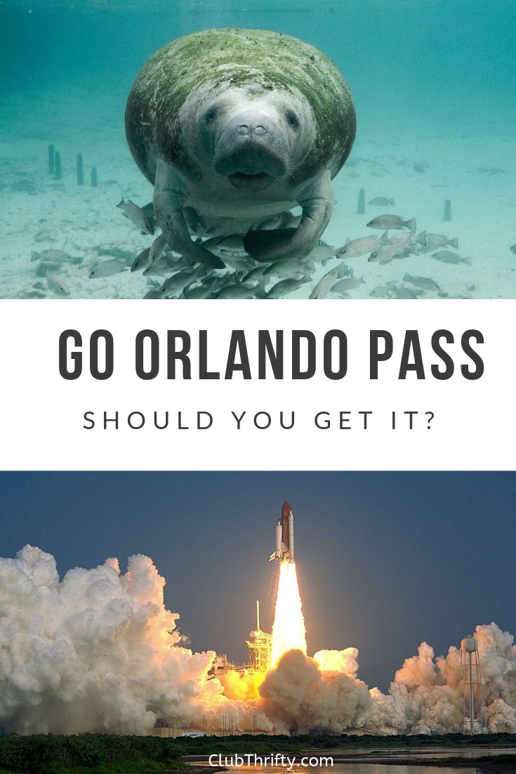 Go Orlando Pass Review Pin - pictures of Florida manatee and shuttle launch
