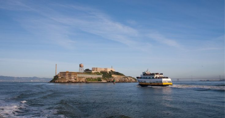 Go San Francisco Pass Review - picture of cruise ship in front of Alcatraz Island