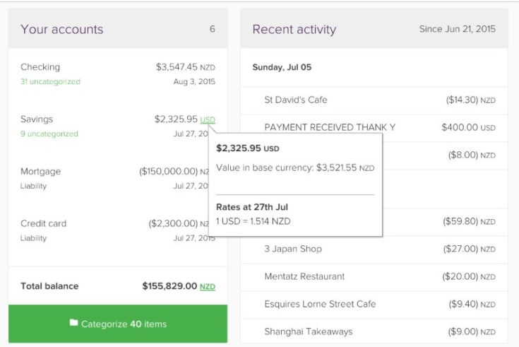 Pocketsmith Screenshot - sample currencies in a budget
