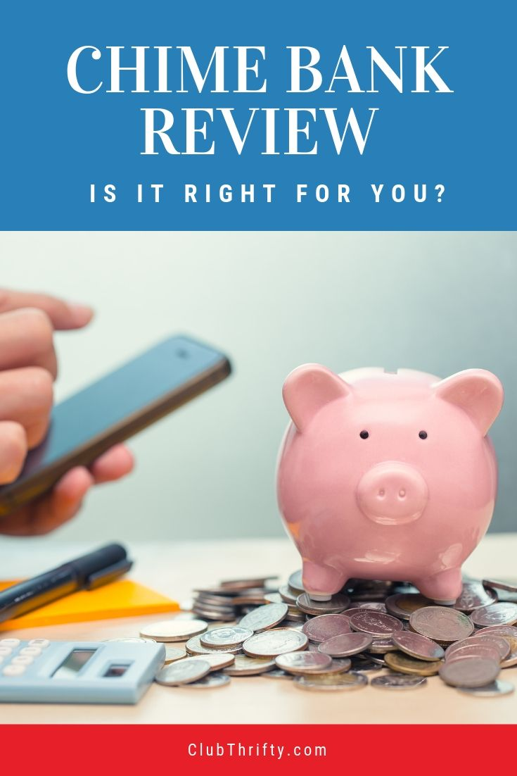 Chime Bank Review pin - picture of piggy bank on pile of coins with someone on smartphone