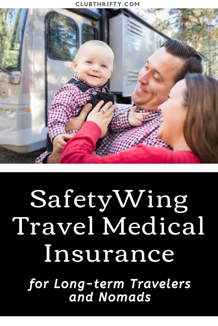 SafetyWing Review Pin - picture of young family in front of RV