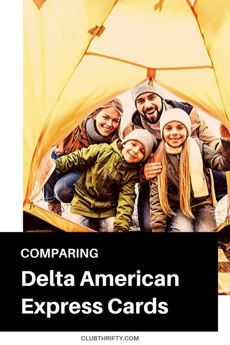 Delta SkyMiles Amex Cards Comparison Pin - family peering into a tent
